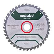 "METABO LAME DE SCIE ""PRECISION CUT WOOD CLASSIC"" 216X30 - Z40WZ 5° NEG"